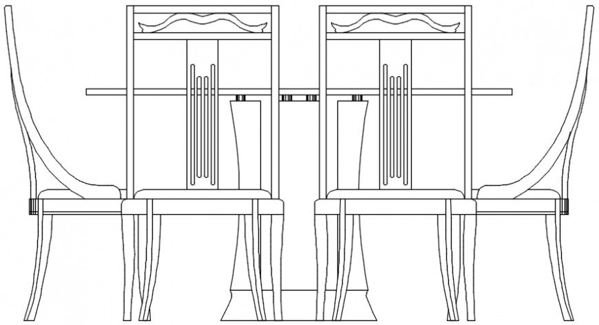 Elevation of dining table and chair in furniture view for AutoCAD