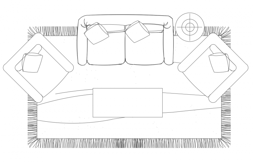 Elevation of drawing room furniture units 2d view dwg file
