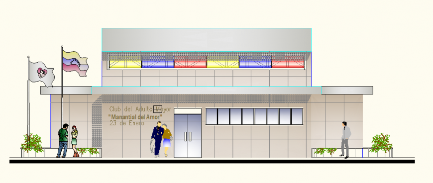 Elevation of government building with country flag detail dwg file