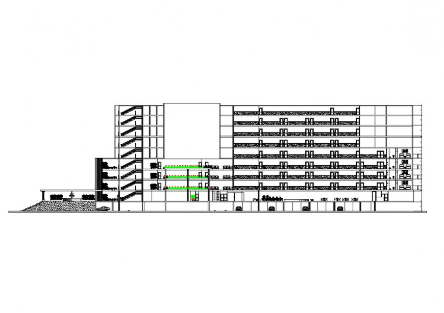Elevation of high rise building block layout CAD block autocad file