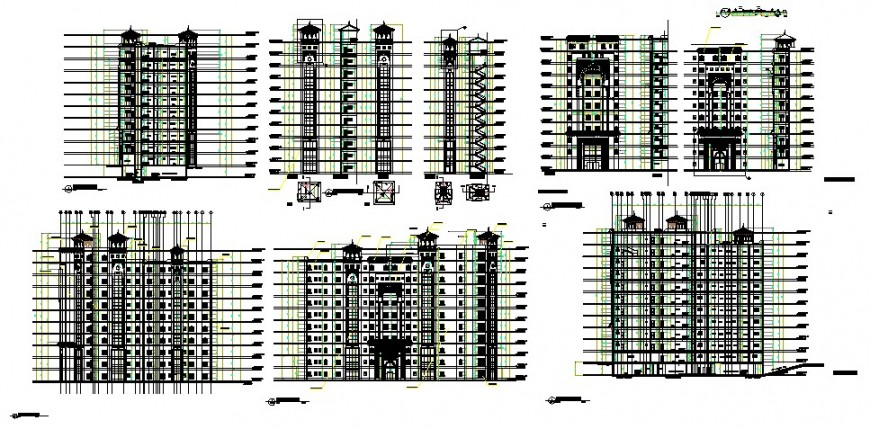 Elevation of high riser building 2d view CAD block autocad file
