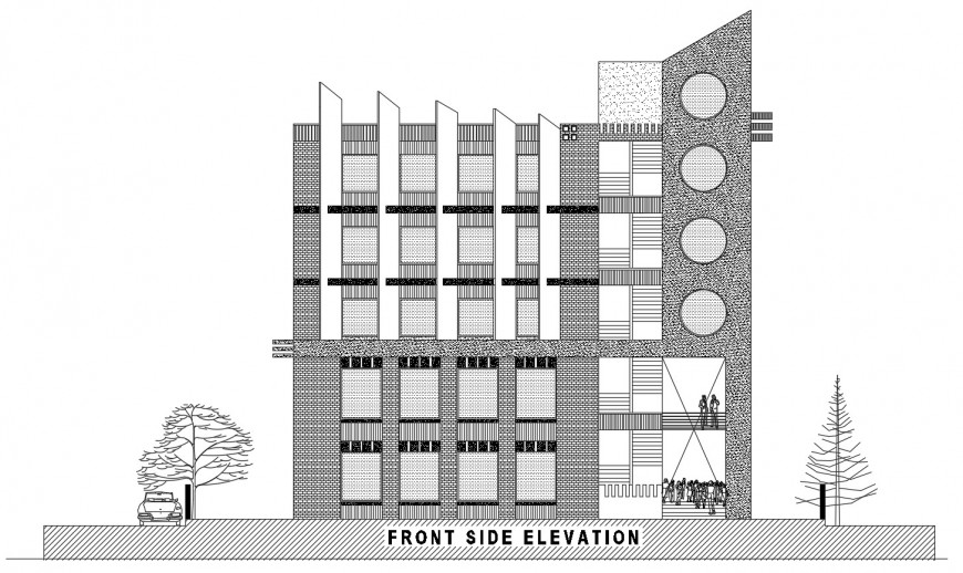 Elevation of hotel building detail 2d view layout file in autocad format