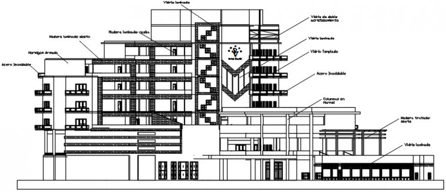 Elevation of hotel cad file