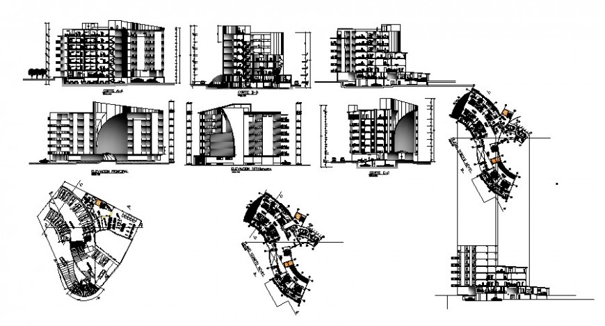 Elevation of hotel design in auto cad software