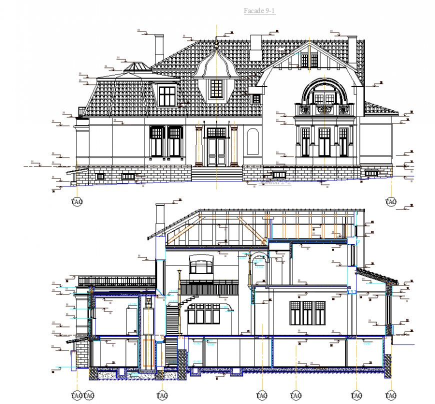 Elevation of house historical design with architectural detail dwg file