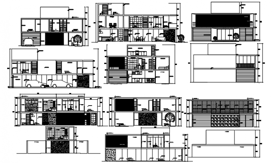 Elevation of housing different axis in AutoCAD file