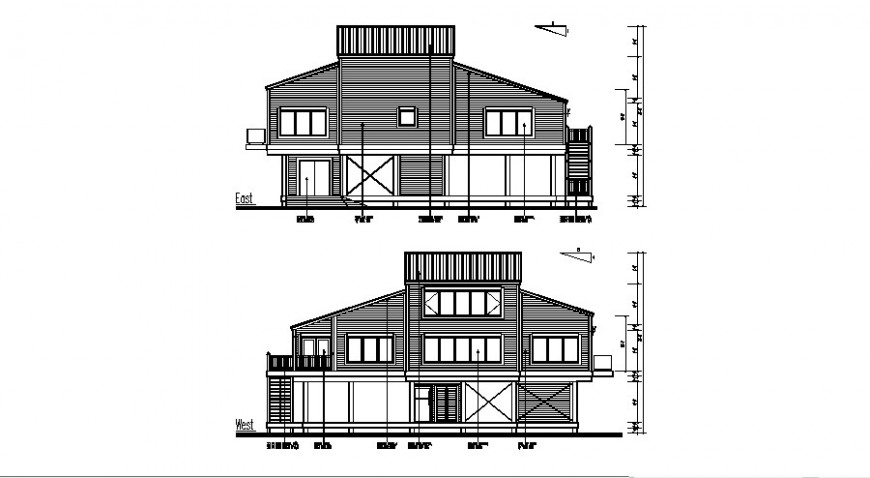 Elevation of housing structure 2d view layout file in autocad format