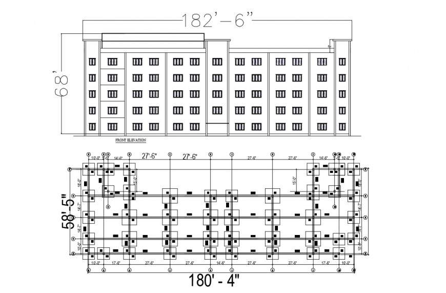 Elevation of Industrial building in dwg file
