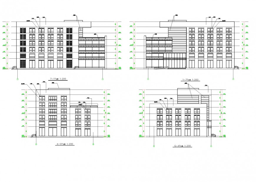 Elevation of multi-story housing building plan