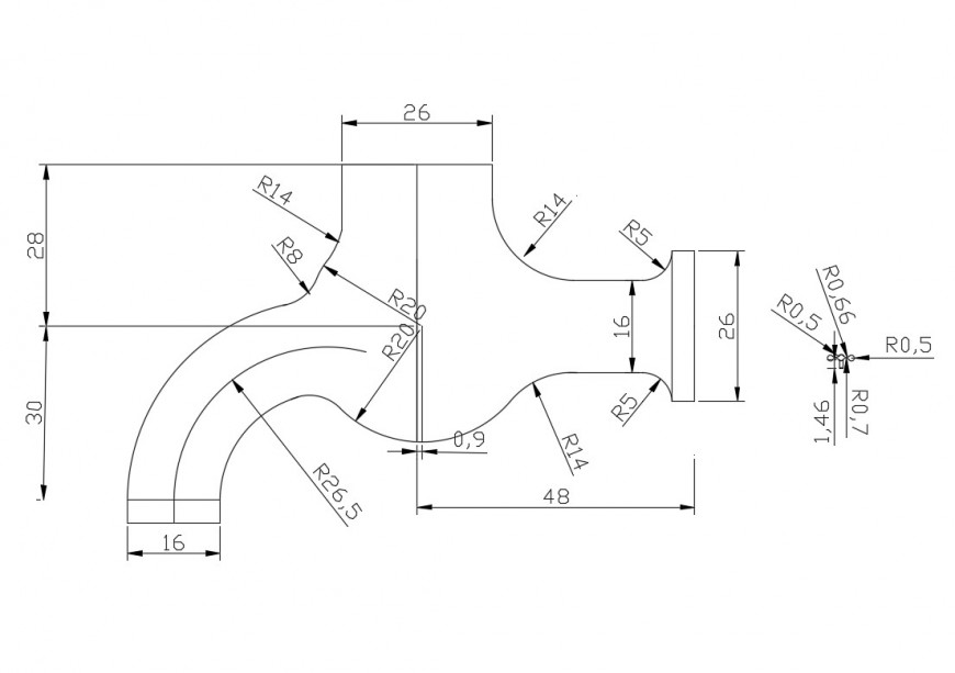 Elevation of plumbing tap with dimension detail 2d view autocad file