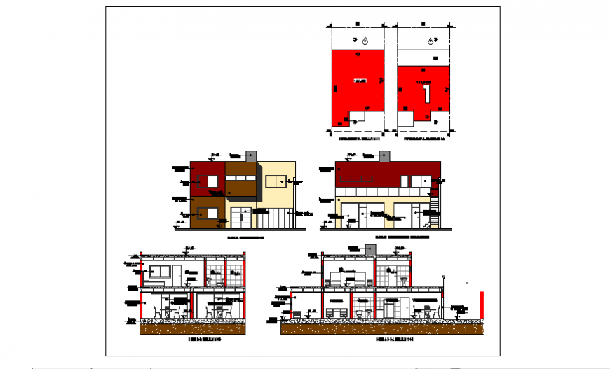 Elevation of Project of architectural single family home design drawing