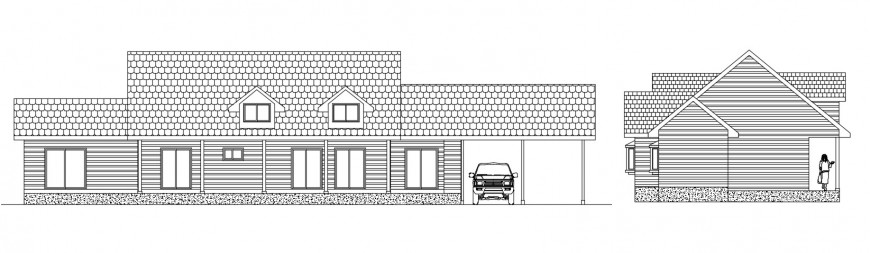 Elevation of Residential bungalow 2d view autocad software file