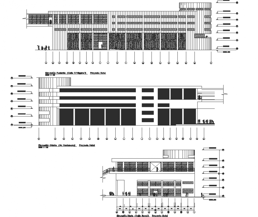 Elevation of the corporate building drawing in dwg AutoCAD file.