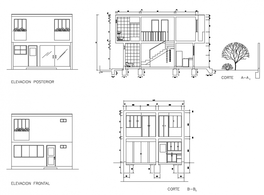 Elevation of the family housing section detail