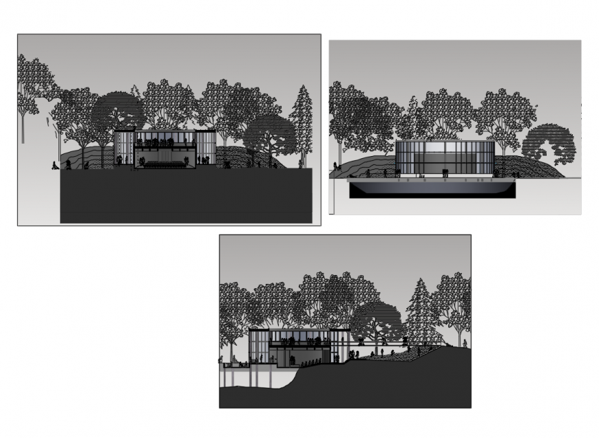 Elevation of theater with different design dwg file
