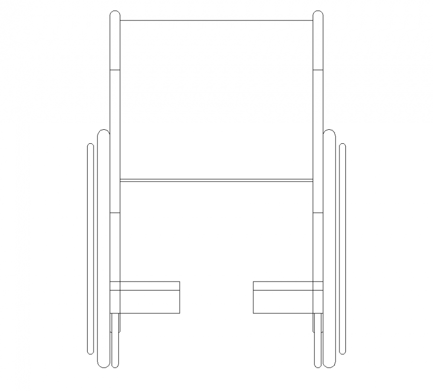 Elevation of wheel chair a vehicle of patient with vehicle block dwg file