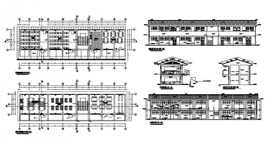 Elevation plan and sectional detail of school building autocad drawing