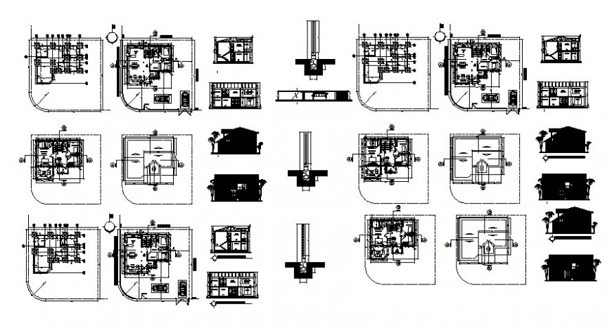 Elevation plan and sectional details of apartments drawings 2d view autocad file