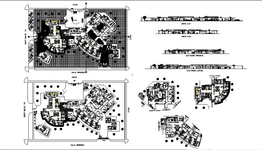 Elevation plan and sectional details of hospital autocad file