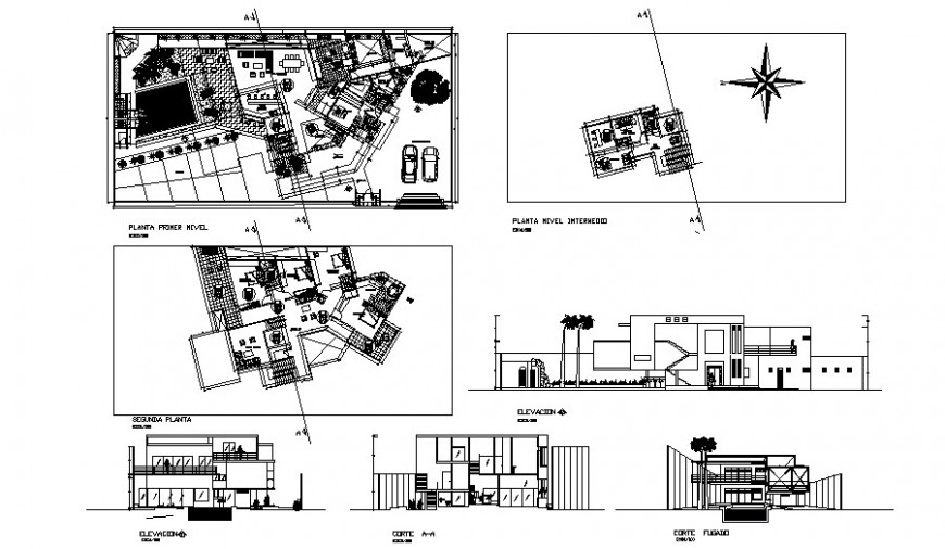 Elevation plan and sectional drawings details of building 2d view autocad file