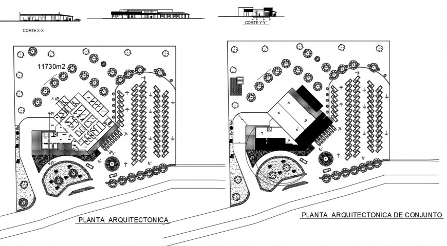 Elevation plan and sectional drawings of co-operative building autocad file