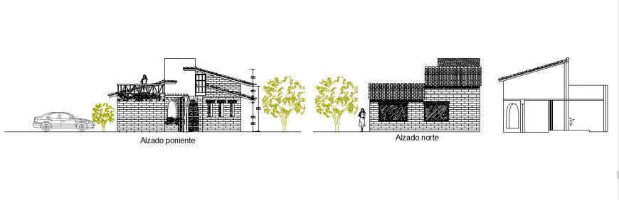 Elevation plan design of cottage design drawing