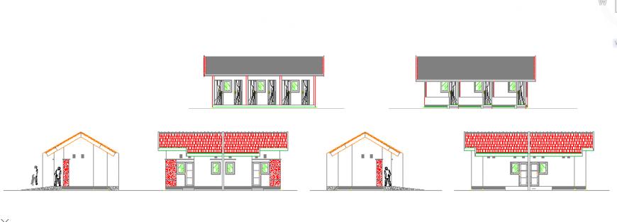 Elevation plan design of Teachers school house design drawing