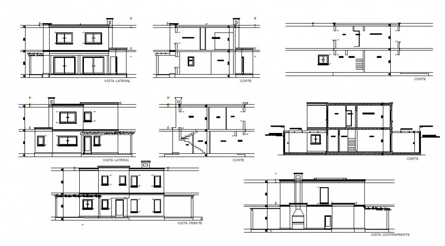 Elevation section 2d CAD drawings of apartment dwg file