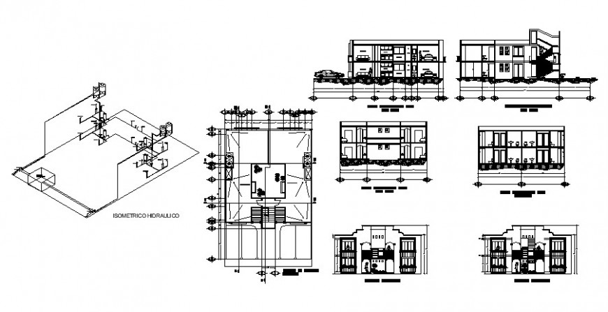 Elevation section and floor plan of apartment 2d view dwg file