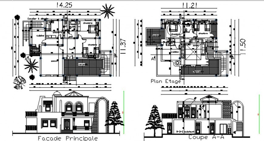 Elevation section and living apartment drawings 2d view dwg file