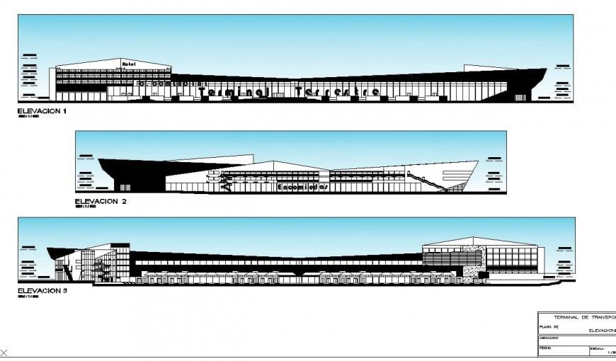 Elevation ship building plan autocad file