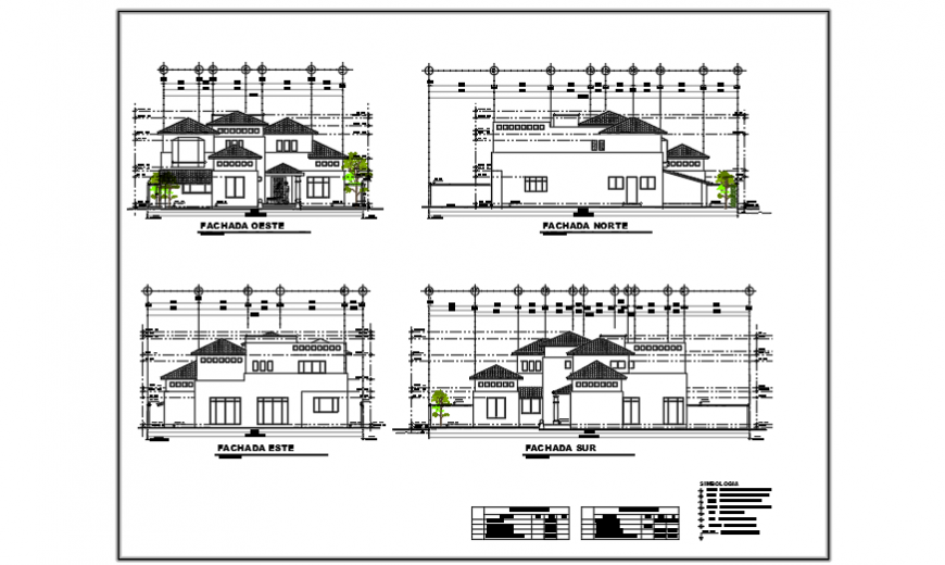 Elevation view design drawing of residential house design