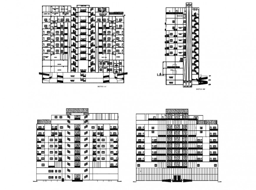 Elevation with different axis view of commercial Centre in auto cad