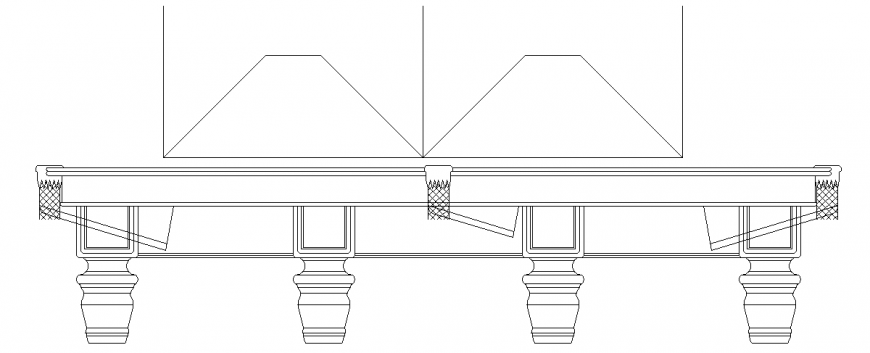 Elevation with furniture view of table design dwg file
