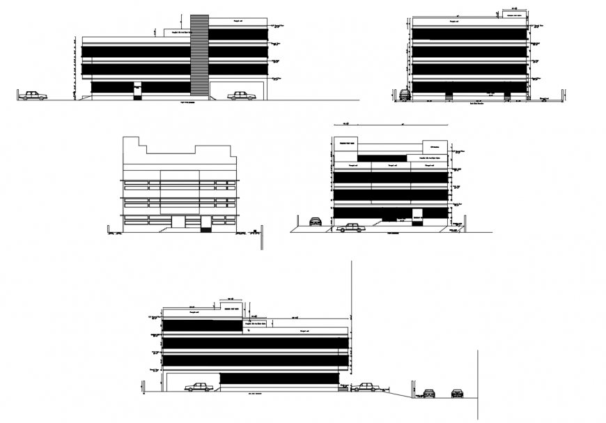 Elevations and sectional drawing details of apartment building dwg file