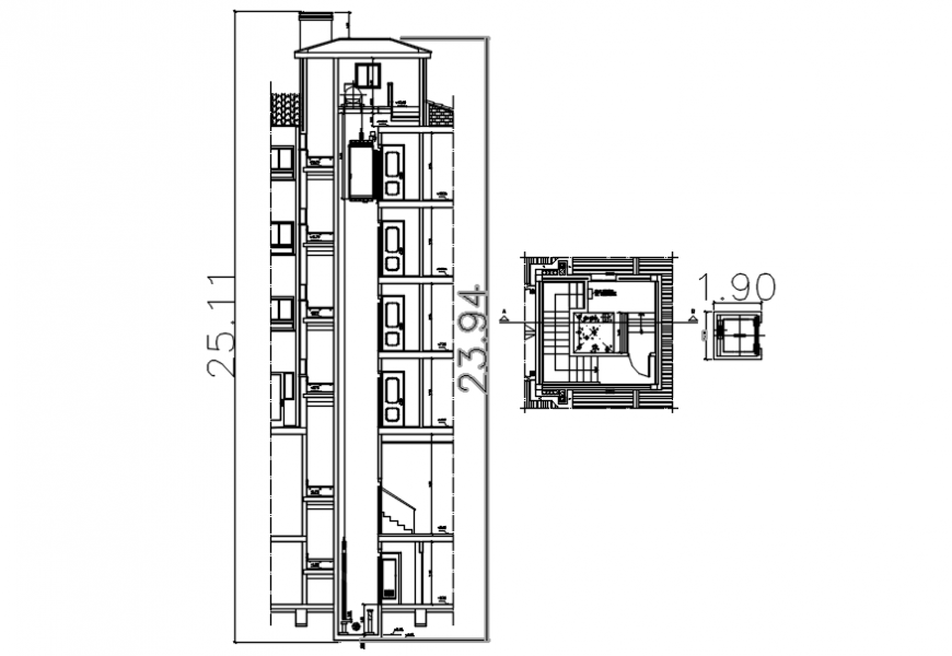 Elevator 2d plan and elevation autocad software file