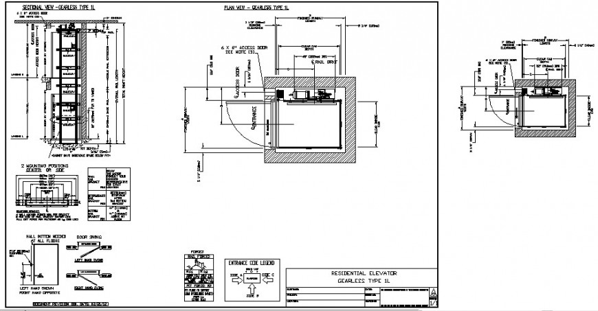 Elevator block detail 2d view layout plan and section autocad file