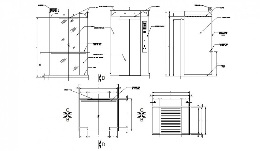 Elevator cabin elevations, section and installation drawing details dwg file