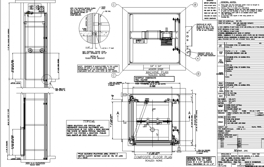 Elevator detail drawing in dwg AutoCAD file.