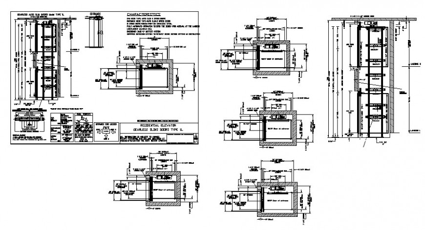 Elevator detail working drawing in dwg AutoCAD file.