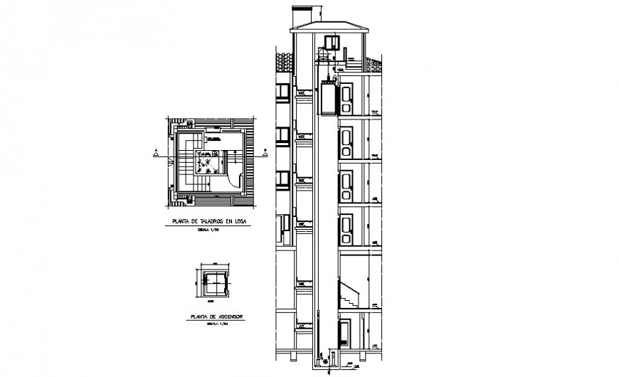 Elevator drawings detail 2d view plan and section dwg file