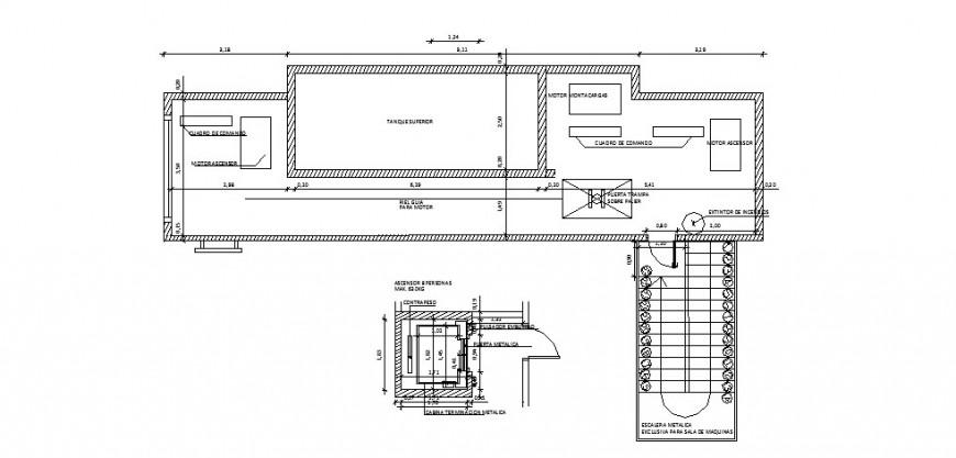 Elevator installation details for multi-story building dwg file