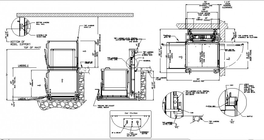 Elevator internal detail drawing in dwg AutoCAD file.