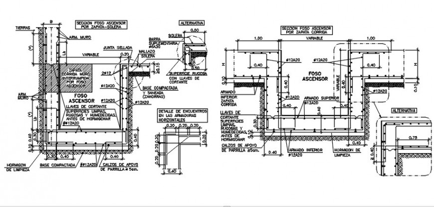 Elevator pit section, plan and installation drawing details dwg file