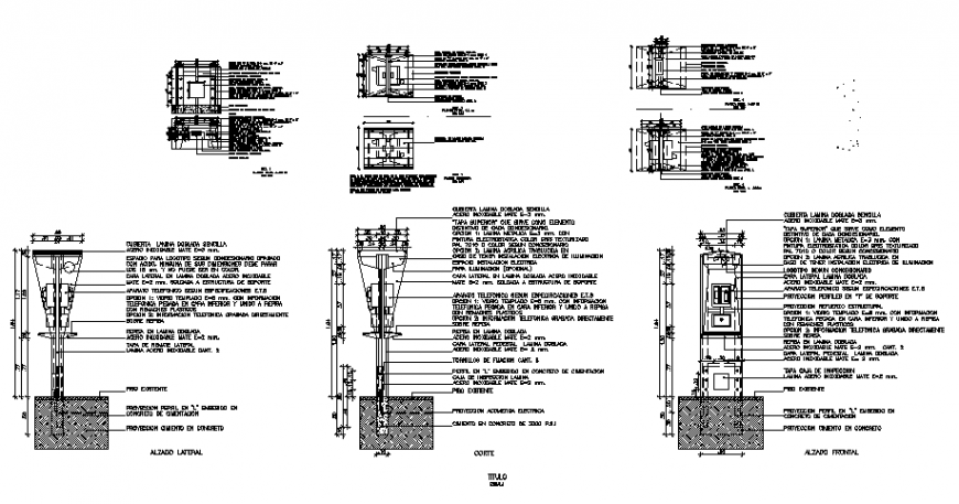 Elevator plan, elevation and section detail dwg file