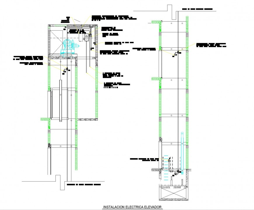 Elevator plan and elevation layout file