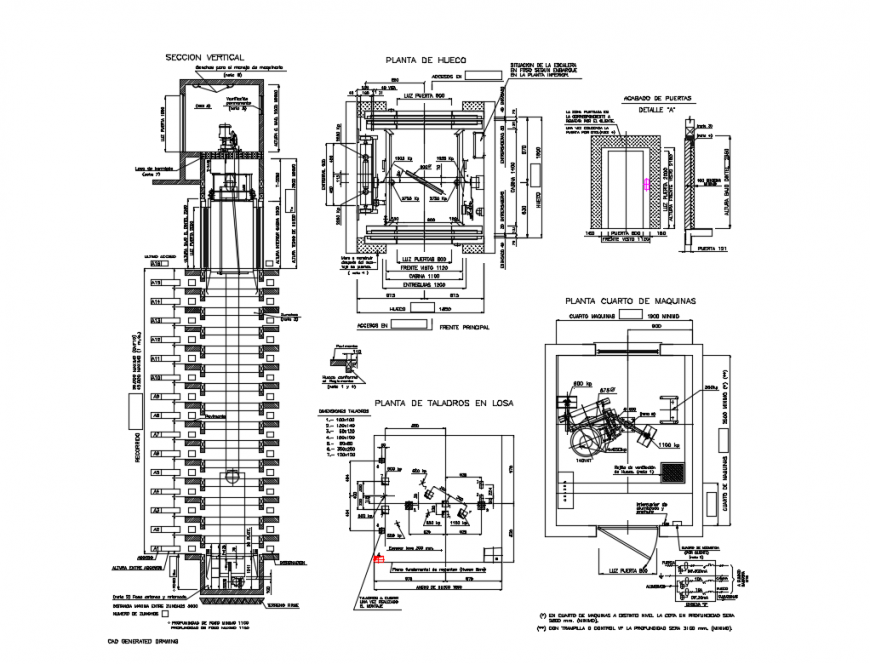 Elevator section and installation details with machine room cad drawing details dwg file