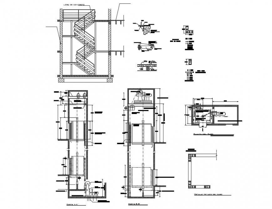 Elevator sections and constructive structure details for 21 passengers dwg file