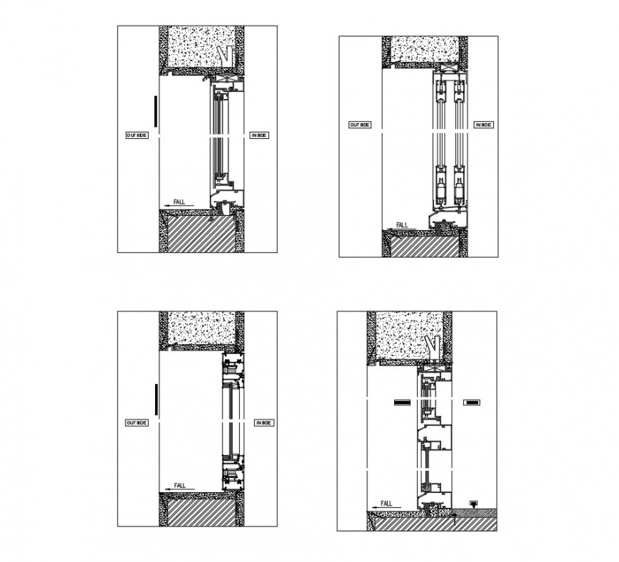 Elevator units detail section 2d view CAD mechanical block dwg file
