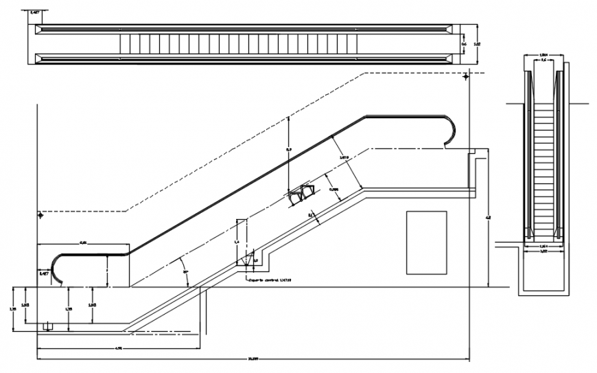 Elevators section, plan and installation drawing details dwg file